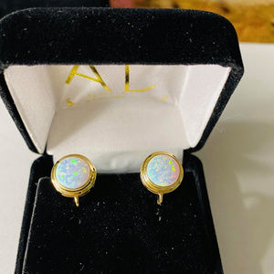 Gold Dangling Earrings 14kt solid with Opal